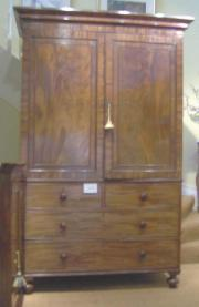 Antique William IV Mahogany Linen Press
