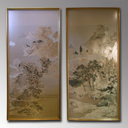 Pair of Fine Chinese Silks Depicting Rural Scenes