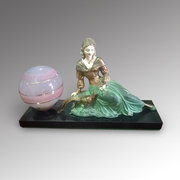 Art Deco Lamp Reclining Lady