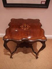 marquetry shaped square occasional table