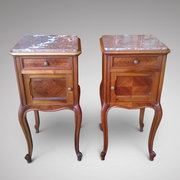pair of late 19thC French walnut bedside cabinets