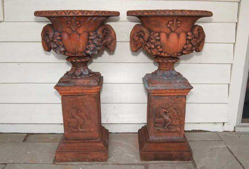 A Pair of Rams Head Urns