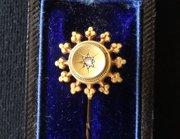 15CT Gold Diamond Set Stick Tie Pin, Arbroath