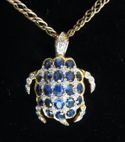 18CT Gold Ruby Diamond Sapphire Turtle Pendant