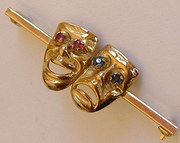 9CT Gold Comedy & Tragedy Theatre Mask Brooch