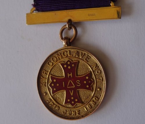 9CT Gold Scottish Masonic Medal, Ayr Conclave