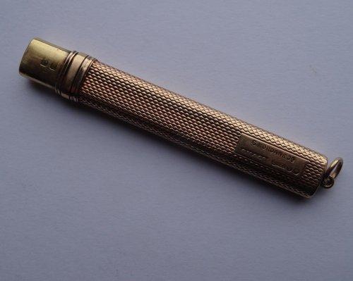 15CT Gold Carpenter's Pencil Case, S Mordan & Co