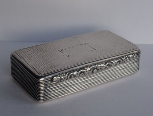 Antique English Silver Snuff Box, Birmingham c1835