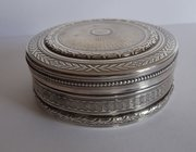 Antique French Circular Silver Snuff Box, c1880