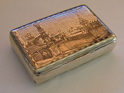 Antique Russian Silver Niello Picture Snuff Box