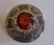 Antique Silver & Agate Scottish Plaid Brooch c1909