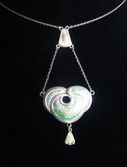 Art Nouveau Silver & Enamel Pendant Charles Horner