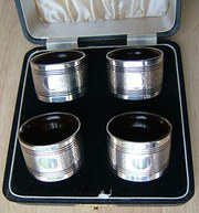 Cased Set Four English Silver Napkin Rings