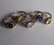 Collection of Five Silver Gem Set Rings