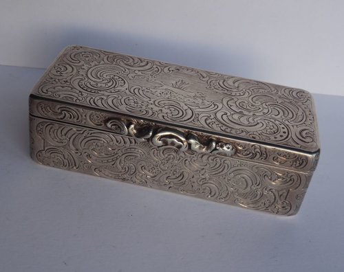 Continental Silver Picture Snuff Box Hunting Scene