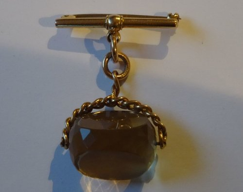 English 15CT Gold T-bar & Citrine Fob Brooch