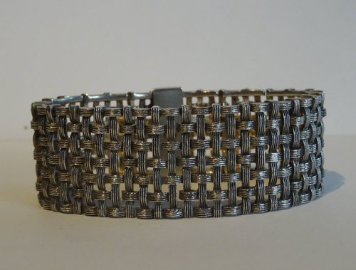 English Silver Hallmarked Mesh Bracelet