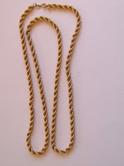 Heavy 9CT Gold Rope Work Necklace Chain