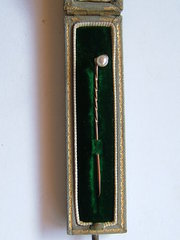 Pearl & Diamond Set Stick Pin, Tessiers Ltd