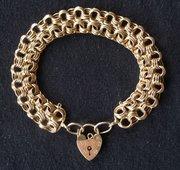 Quality 9ct Gold Bracelet & 9ct Padlock
