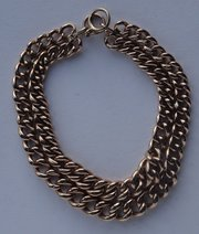 Victorian, Heavy 9CT Gold Curb Link Bracelet