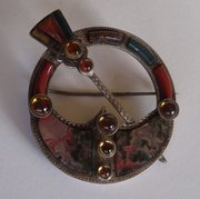 Victorian Scottish Silver & Agate Plaid Brooch