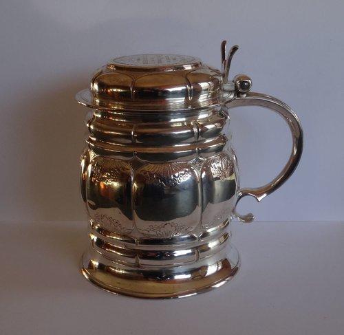 Victorian Sterling Silver Lidded Tankard c1865