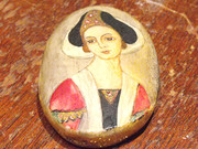 Bone Pendant Portrait Miniature of Lady