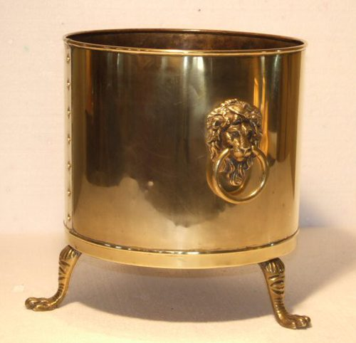 Antique Large Brass Log Bin
