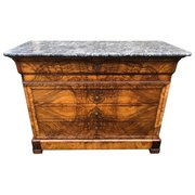 19th Century Marble Top Commode Chest Of Drawers