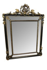 Large 19th c. Ebonised And Gilt Cushion Mirror