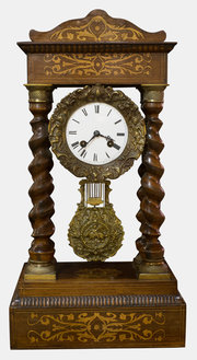 19th c. French Rosewood Portico Clock