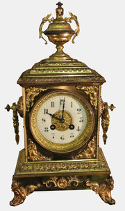 19th c. Gilt Bronze Mantel Clock