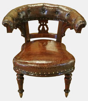 19th c. Leather and Mahogany Desk Chair
