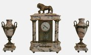 19th c. Marble Clock Garniture