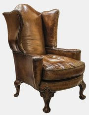 Large Queen Anne Leather Armchair