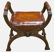 Leather and Oak `X Framed` Stool