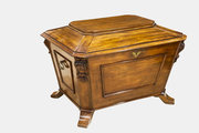 Mahogany Sarcophagus Wine Cooler with Brass Handle