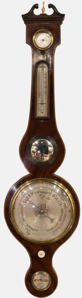Mahogany & Boxwood Inlaid Banjo Barometer