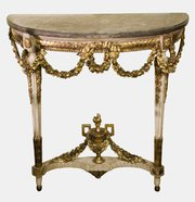 Painted French Parcel Gilt Console Table