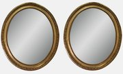 Pair Of Oval Giltwood Mirrors