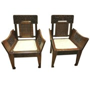 Pair Of Silk Road Hardwood Chairs