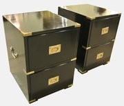 Pair of Black Lacquered Campaign Bedroom Chests