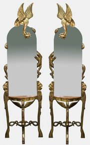 Pair of Console Tables with Mirrors