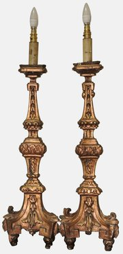 Pair of Italianate Altarstick Lamps