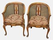 Pair of Mahogany Bergere Tub Chairs