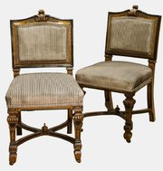 A set of six superb quality oak and ebonised dining chairs