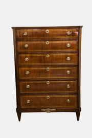 Tall Brass Inlay Chest Of Drawers