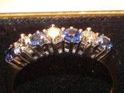 1930's 18ct Gold 7 Diamond Sapphire Ring 5g