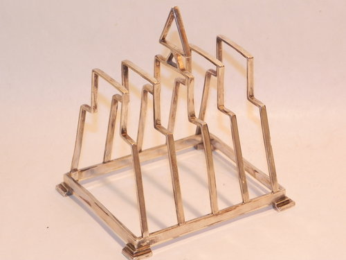 Art Deco Solid Silver Toast Rack Lanson 1934